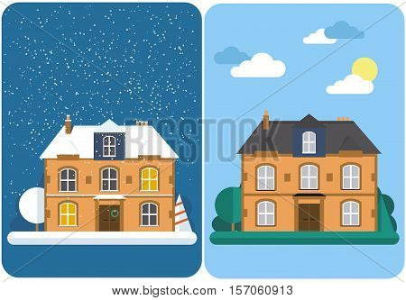Winter house. Summer house. Family suburban home. Vector flat illustration