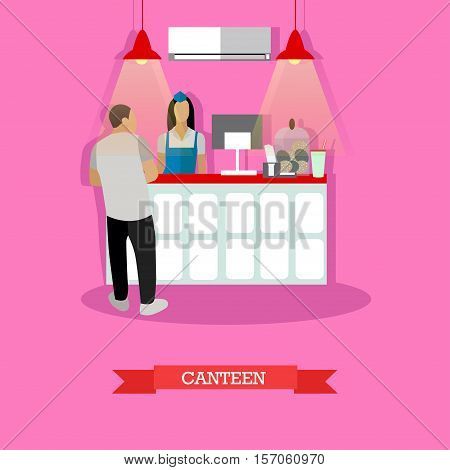 Vector illustration of canteen interior in flat style. Canteen design element with woman serving visitor man. poster