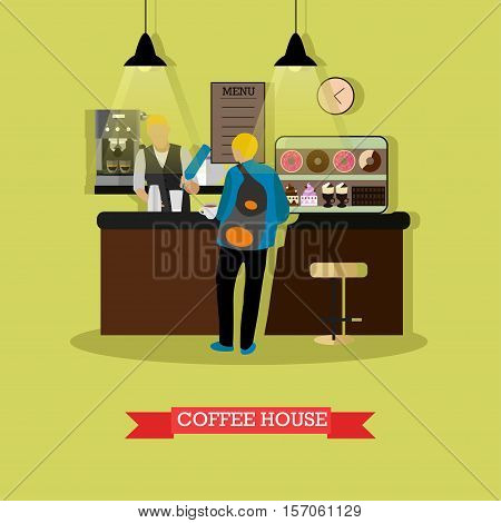 Vector illustration of coffee house design template with barista and visitor. Customer standing near bar counter. Coffee house interior in flat style.