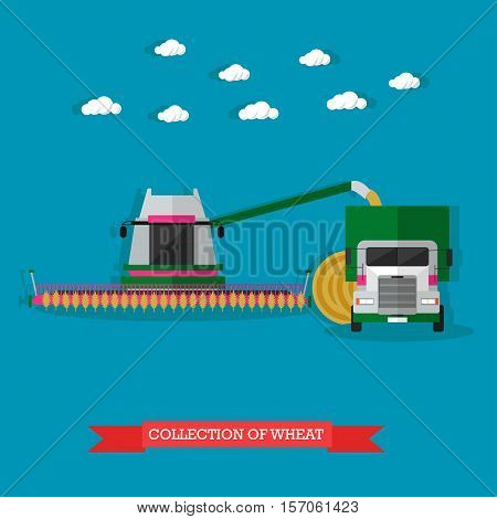 Agricultural machinery on field. Combine harvester, truck, round haystack behind of it. Wheat harvesting concept vector illustration in flat style poster