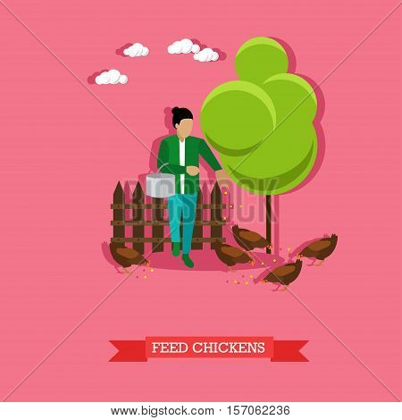 Woman feeding chickens. Farming, aviculture concept vector illustration in flat style