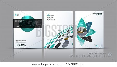 Business vector set. Brochure template layout, cover design annual report, magazine, flyer in A4 with geometric round shapes, circles for science, travel, finance. Abstract creative design.