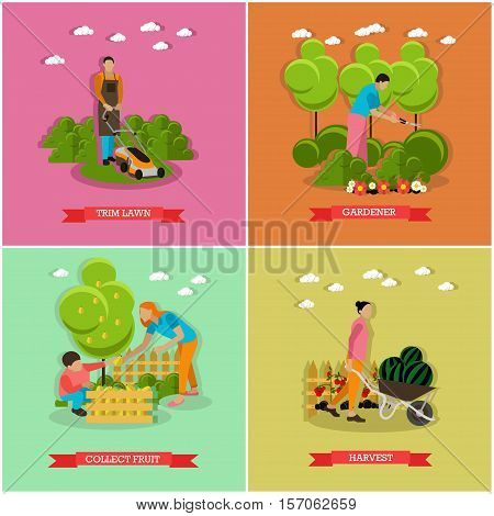 Set of gardening, harvesting concept banners. People with garden tools. Service of gardener. Vector, flat style