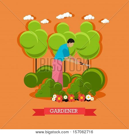 Gardener trimming bush with clippers. Service of gardeners. Vector illustration in flat style