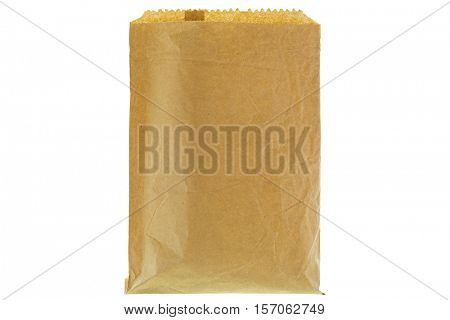 Closeup of wrinkly thin brown grocery paper bag, blank front and back isolated on white background