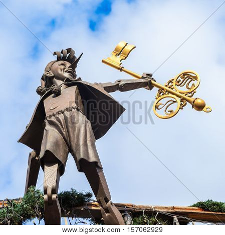 Kiev, Ukraine - September 23, 2016: Sculpture Of Buratino (pinocchio), Fairy Tale Character Of Alexe