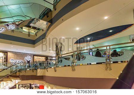ABU DHABI - NOVEMBER 4 2016: Luxury interior shopping center Marina mall in Abu Dhabi UAE. Marina Mall is Abu Dhabi's premium shopping mall and entertainment landmark. Marina Mall. Abu Dhabi. AEU