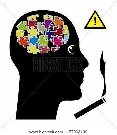 Cigarettes affect the Brain. Smoking tobacco causing long term damage to the brain like memory loss or shrinking