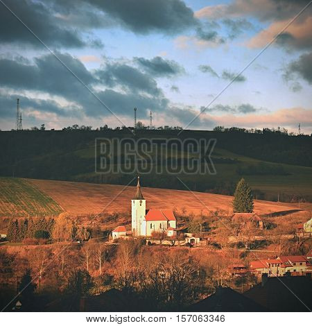 Small church in a village. Dolni Loucky Czech Republic
