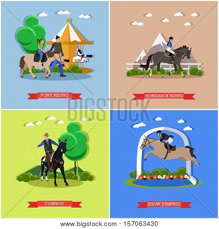 Horseback riding, pony riding, show jumping, cowboy throwing lasso taming horses. Vector set of banners, posters, flat style poster