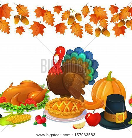 Seamless horizontal border with Thanksgiving icons. Colorful illustration of Thanksgiving day greeting card. Traditional Thanksgiving food leaves and turkey. Thanksgiving Day background for decoration. Vector.