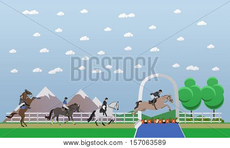 Gray race horse and man jockey in uniform jumping over barrier. Horseback riding, show jumping, equestrian sport concept vector illustration in flat style.