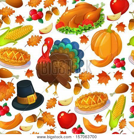 Seamless pattern of Thanksgiving icons. Colorful illustration of Thanksgiving day greeting card. Traditional Thanksgiving food leaves and turkey. Thanksgiving Day background for decoration. Vector.