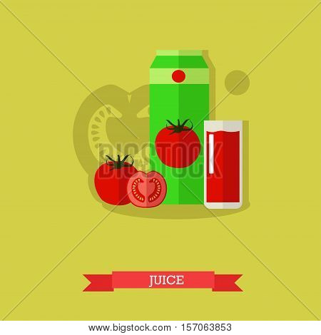 Glass of tomato juice, carton, whole and slice tomatoes. Vegetable juice. Organic food concept vector illustration in flat style.