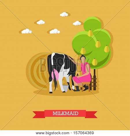 Milkmaid sitting under fruit tree near cow on farm. Farming concept vector illustration in flat style