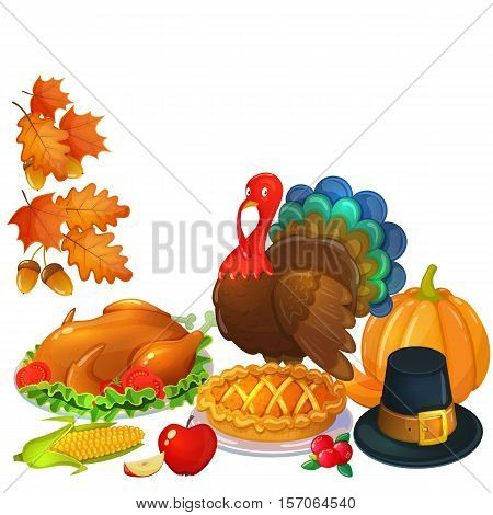 Still life Thanksgiving icons. Colorful illustration of Thanksgiving day greeting card. Traditional Thanksgiving food leaves and turkey. Thanksgiving Day background for decoration. Vector.