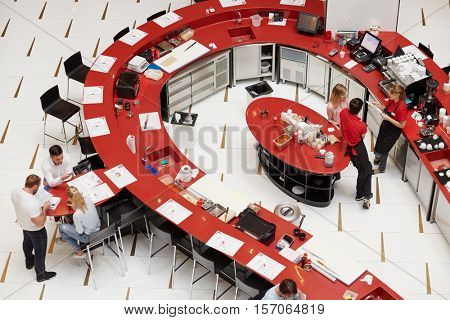 MOSCOW, RUSSIA - AUG 14, 2016: Sushi bar Buba by Sumosan located in the tower City of Capitals at Moskva City complex. Sumosan is a restaurant of  Japanese cuisine.