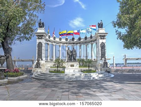 The Hemiciclo monument on the boardwalk of downtown Guayaquil on a sunny day