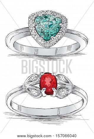 Silver Diamond Ring Jewelry Sketch Vector Illustration