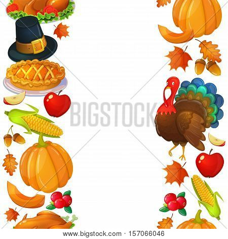 Vertical seamless borders with Thanksgiving icons. Colorful illustration of Thanksgiving day greeting card. Traditional Thanksgiving food leaves and turkey. Thanksgiving Day background for decoration. Vector.