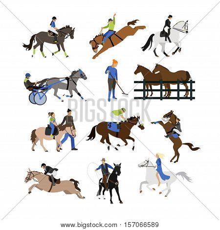 Set of riding characters icons isolated on white background. Equestrian sport, riding and taming horses, rodeo, farming concept vector illustration in flat style