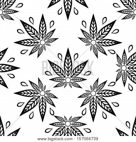 Seamless pattern black and white with of cannabis leaves.