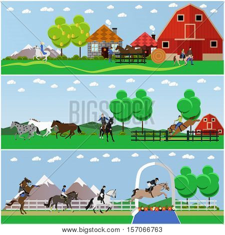 Vector set of horseback riding, horse riding, taming horses and farming concept banners, posters, flat style.