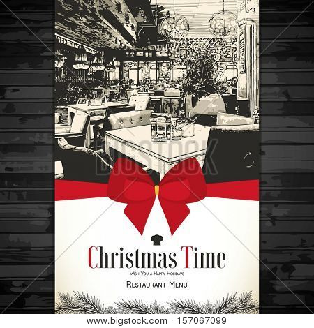 Christmas Holidays restaurant menu design. Vector menu brochure template for cafe, coffee house, restaurant, bar. Food and drinks logotype symbol design. With a sketch pictures