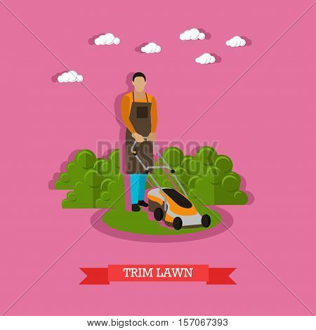 Gardener trimming lawn. Garden worker using lawn mower. Service of gardeners. Vector illustration in flat style