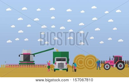 Working people and agricultural machinery on field. Combine harvester, truck, tractor with trailer full of round bales of hay. Wheat harvesting concept vector illustration in flat style