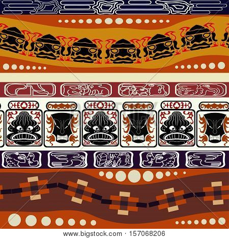Seamless Indian pattern with masks. Tribal style