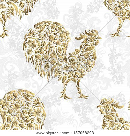 Seamless pattern with golden rooster on white background. 2017 new symbol.