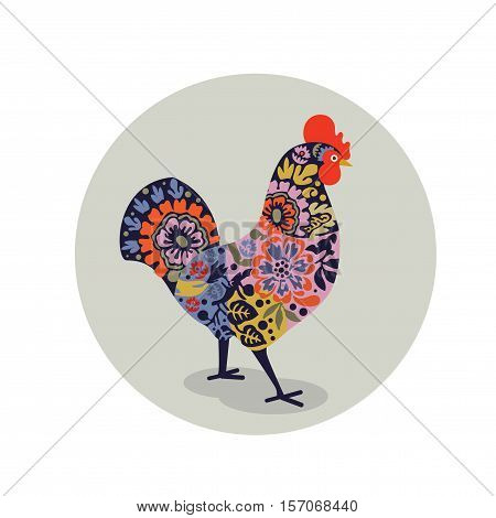Vector illustration of rooster decorated with colorful floral pattern. Logo, icon, greeting cards elemen for New Year's design. Symbol of new year 2017.Chinese calendar.