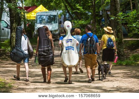 Musicians Walking At The Wild Goose Festival