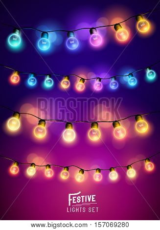 A collection of various colourful and festive fairy lights. Vector illustration