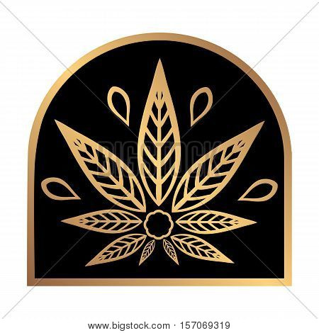 Cannabis gold logo. Hemp Line icons. Stylized leaf cannabis on a black background. Sign T-shirts for design, creating corporate identity and promotional products.