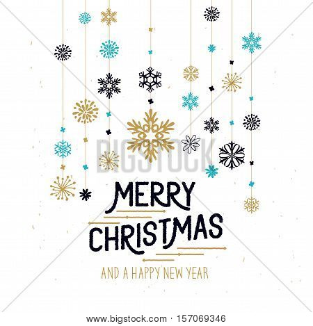 Merry Christmas Decorations. Hanging snowflakes and merry christmas sign. Vector illustration.