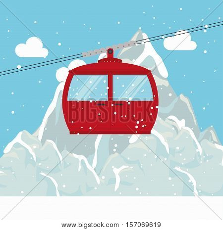 cable way snow mountain design vector illustration eps 10