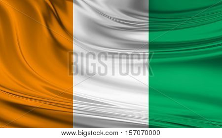 National waving flag of Cote D Ivoire on a silk drape