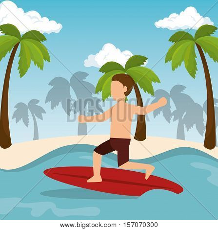 boy surfing water sport extreme vector illustration eps 10