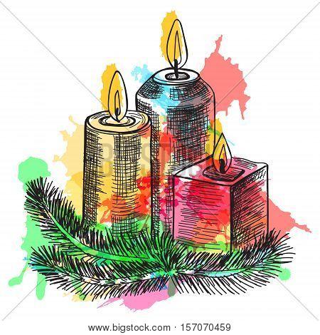 Hand drawn sketch Burning candle in christmas candlestick of fir branches with colorful watercolor blots. Vector illustration.