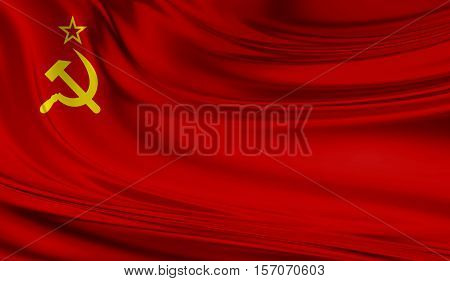 National waving flag of Union of Soviet Socialist Republics URSS on a silk drape