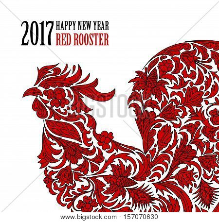 Vector illustration of rooster, symbol of 2017 on the Chinese calendar. Silhouette of red cock, decorated with floral patterns. Vector element for New Year's design. Two colors print