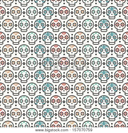 Tribal hand drawn line geometric mexican ethnic seamless pattern. Border. Wrapping paper. Print. Doodles. Tiling. Handmade native vector illustration. Aztec background. Texture. Boho style skull