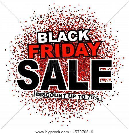 Black friday sale type on firework background. Black friday sale banner. Vector illustration.