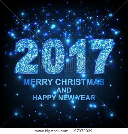 2017 Merry Christmas and Happy New Year gold glitter texture font. Vector illustration.