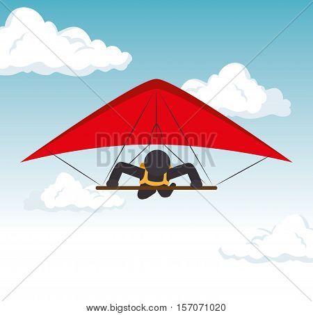 sky gliding man flying extreme sport vector illustration eps 10