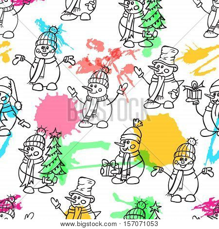 Seamless Sketching hand drawn style cute snow mans. Christmas vector illustration.Snowmen with gifts hats and scarves with colorful watercolor blots