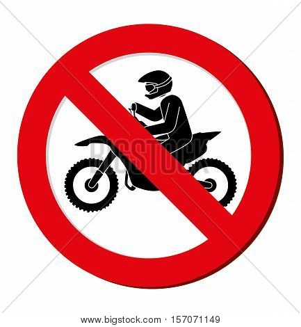 no motorcycle prohibition sign design vector illustration eps 10