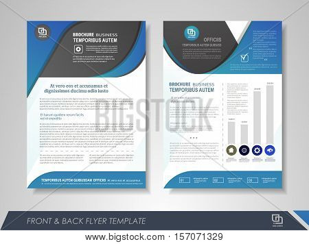 Front and back page annual report brochure flyer design vector template. Leaflet cover presentation abstract background for business magazines posters booklets banners. Layout in A4 size.